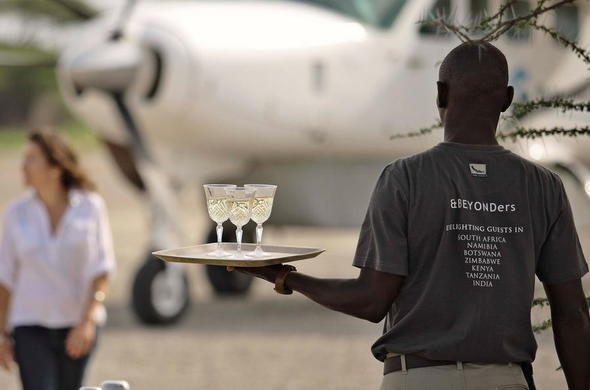 Welcome drinks at bush airstrip.