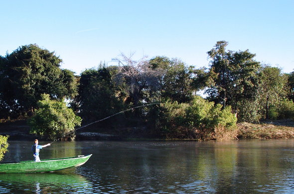 Fishing in the Zambezi River.