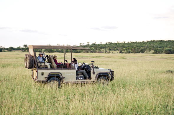Game drive during a luxury Serengeti safari in Tanzania.