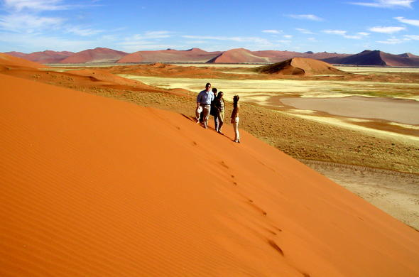 Explore the dunes of Sossusvlei in Namibia.