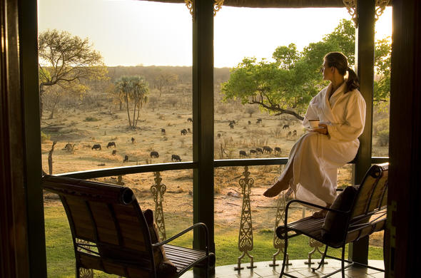 Enjoy your morning coffee on the balcony of Stanley and Livingstone Safari Lodge.