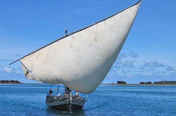 A dhow sailing boat.