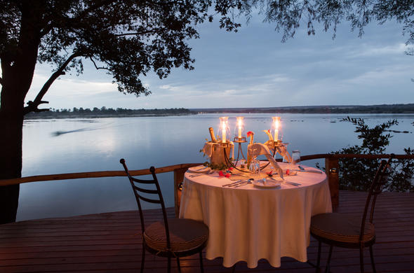 Romantic candle-lit dinner for two in Zambia.