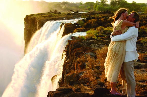 Romantic Victoria Falls couple.