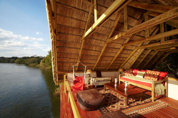 Enjoy the view of the Zambezi river from deck.