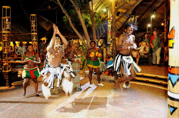 Traditional dancers performing during dinner at Victoria Falls Safari Lodge.