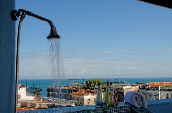 View over Stone Town from your Shower. Zanzibar Palace Hotel