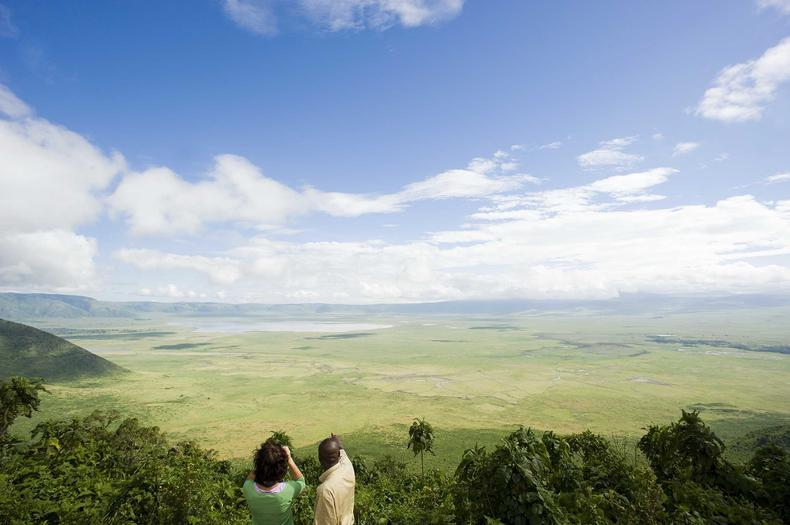View over the coffee plantation and eastern wall of Ngorongoro from TLoma Lodge