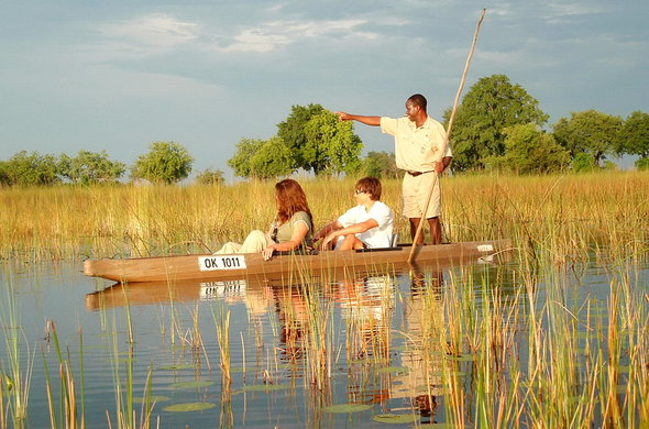 Romantic mokoro excursion in Botswana.