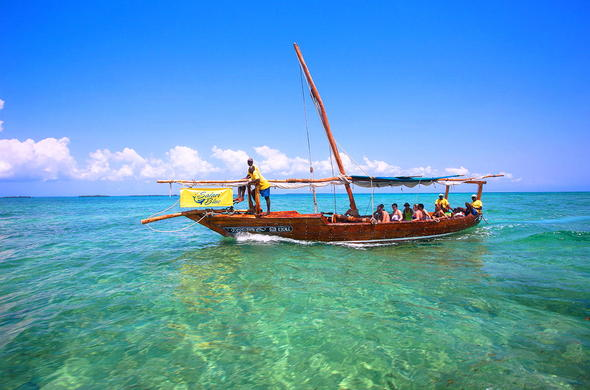 Indian Ocean dhow excursion off the coast of Zanzibar.